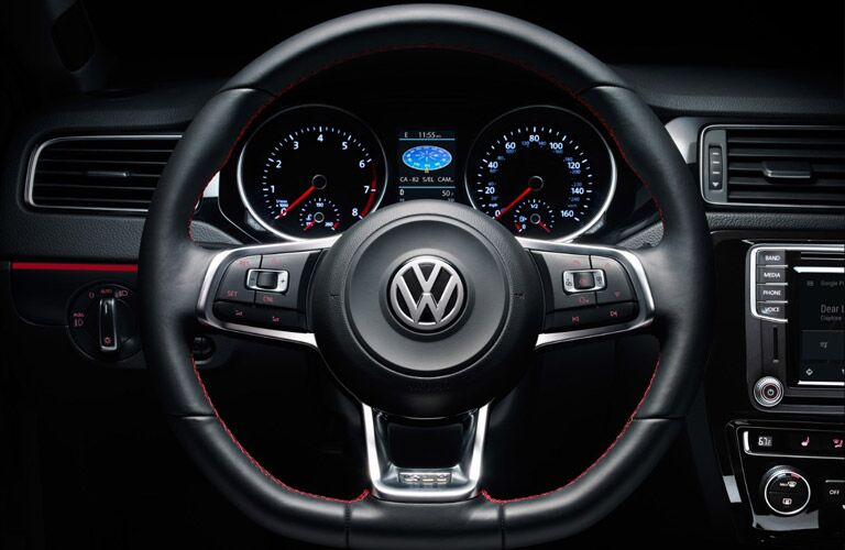 A photo of the driver's cockpit in the VW Jetta.