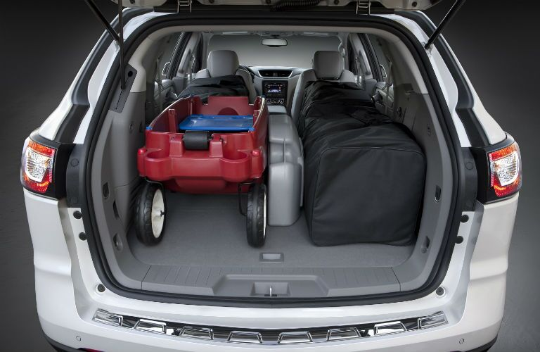 An interior photo of cargo in the back of the Chevy Traverse.