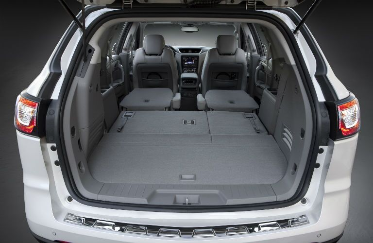 A photo of the maximum cargo configuration in the Chevy Traverse.