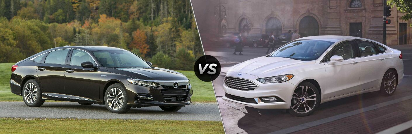 2018 honda accord hybrid and 2018 ford fusion hybrid side by side