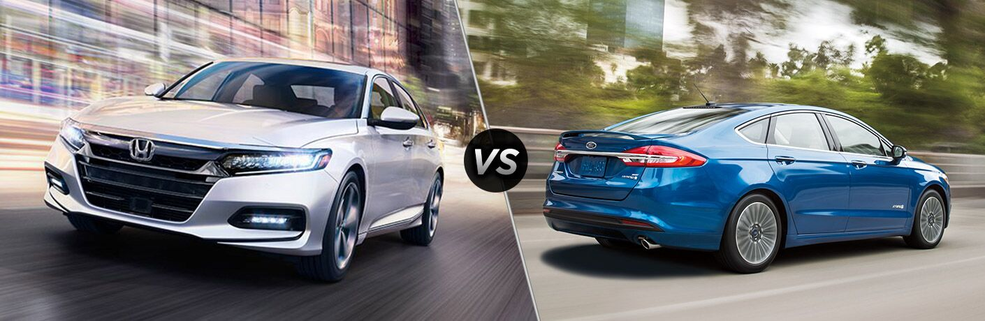 2018 honda accord and 2018 ford fusion side by side