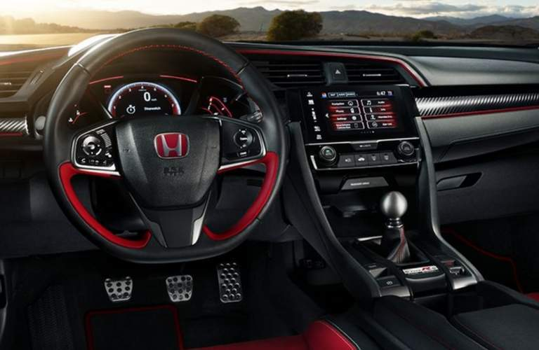 2018 honda civic type r interior with steering wheel infotainment system