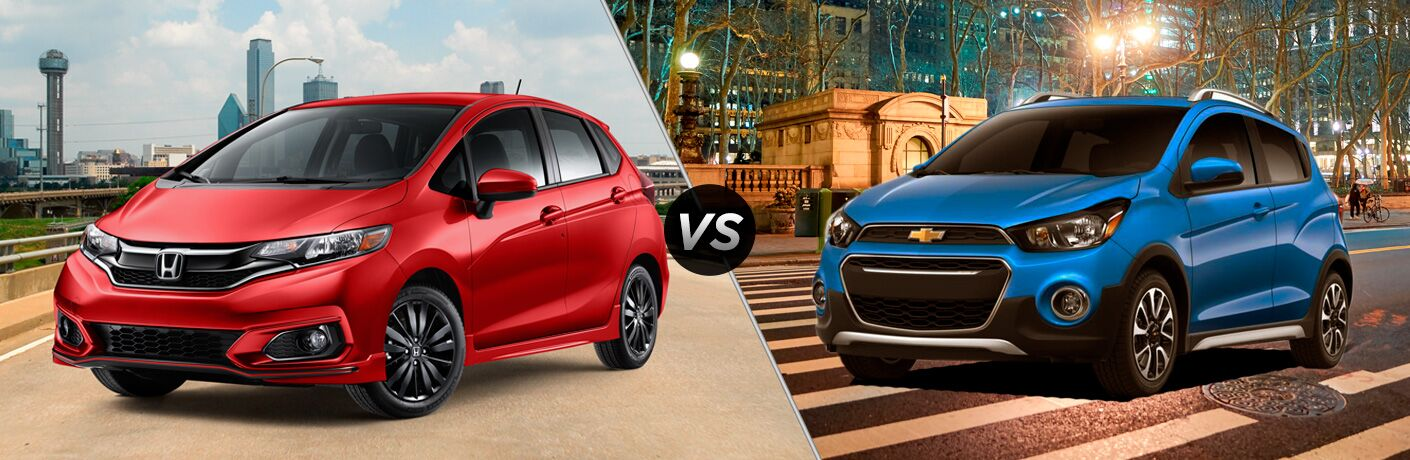 2018 honda fit and 2018 chevrolet chevy spark side by side