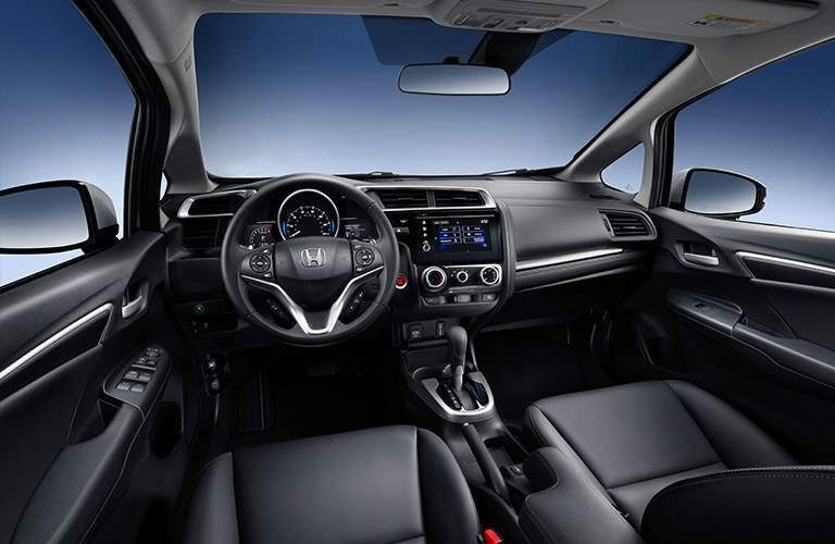 2018 honda fit dashboard with steering wheel and infotainment system