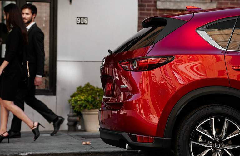 red 2017 Mazda CX-5 exterior rear hatch seen from side
