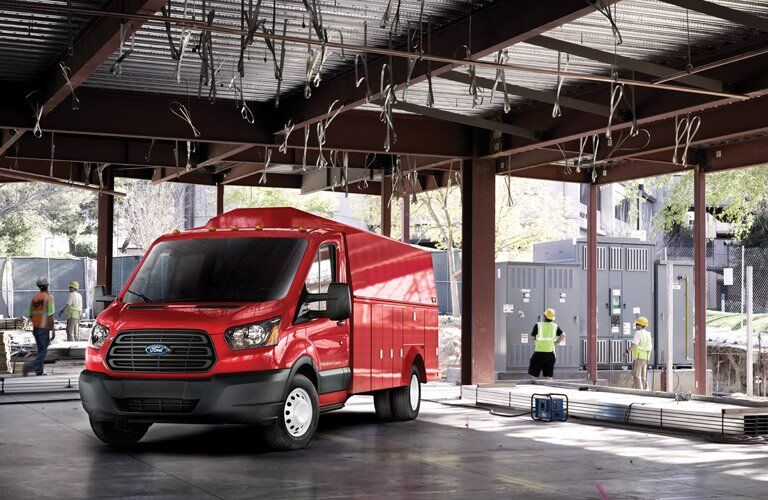 2017 ford transit van in red