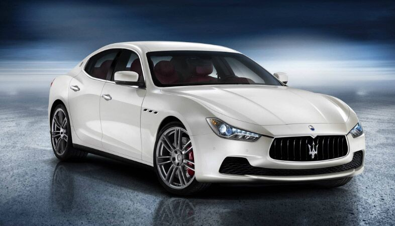 full view of a white maserati ghibli