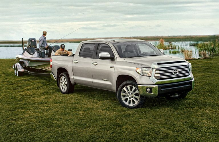 Silver 2016 Toyota Tundra Towing a Boat