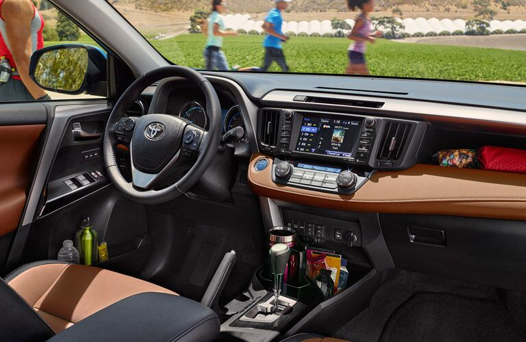2017 Toyota RAV4 steering wheel and dash