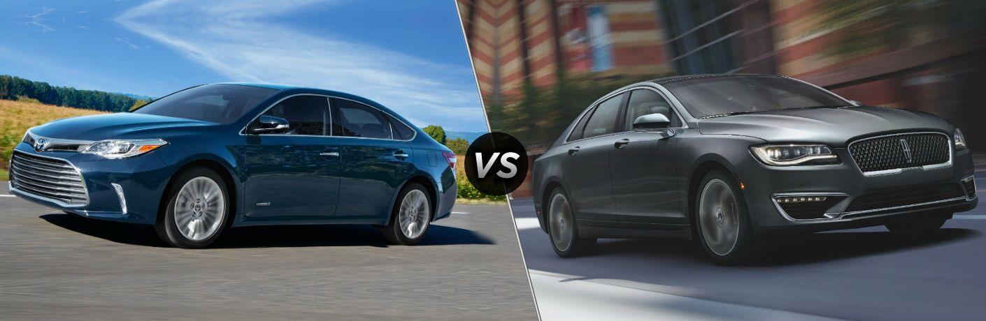 2018 Toyota Avalon Hybrid Exterior Driver Side Front Profile vs 2018 Lincoln MKZ Hybrid Exterior Passenger Side Front