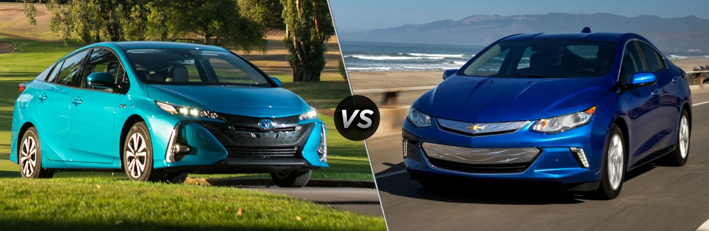 2018 Toyota Prius Prime Exterior Passenger Side Front vs 2018 Chevy Volt Exterior Driver Side Front