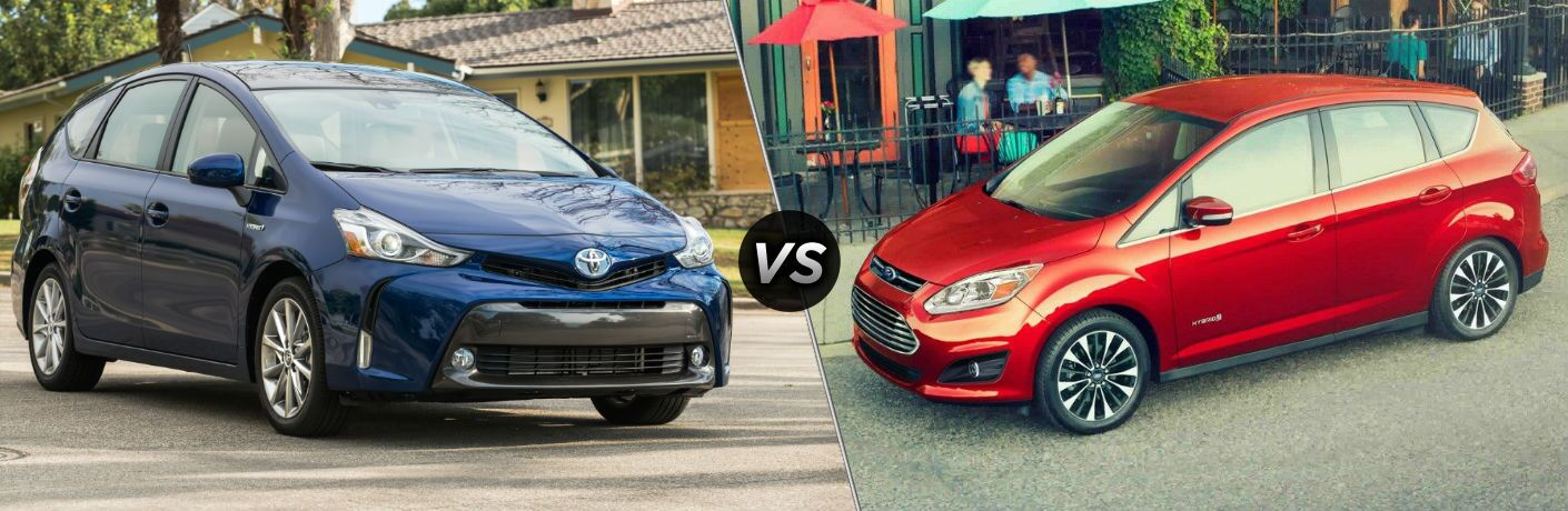 2018 Toyota Prius v Passenger Side Front vs 2018 Ford C-Max Hybrid Exterior Driver Side Front Profile