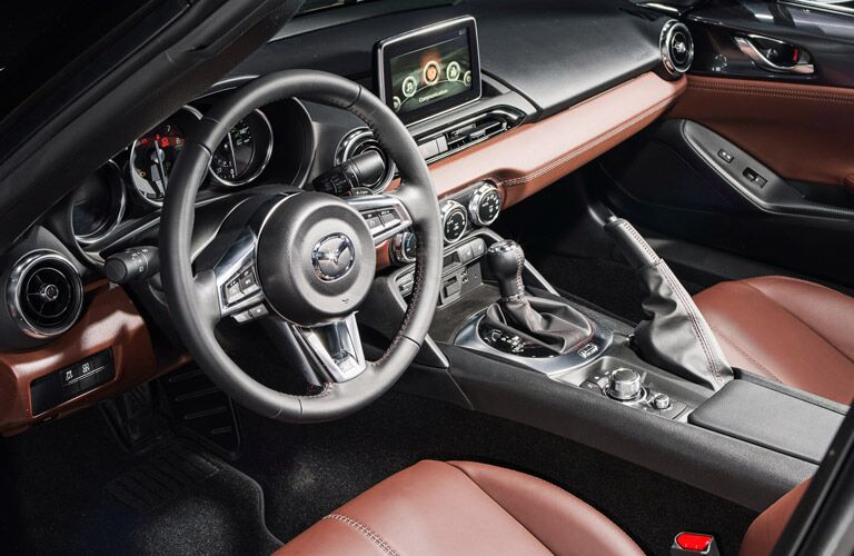 2017 Mazda MX-5 Miata RF front interior driver dash and display audio