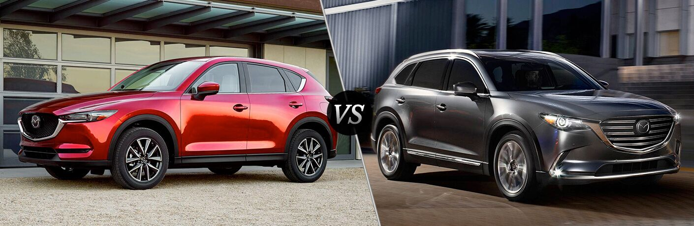 side by side images of the 2018 Mazda CX-5 and 2018 Mazda CX-9
