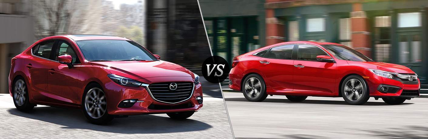 2018 Mazda3 driving on a brick road driving by trees and buildings vs 2018 Honda Civic driving by building in a city