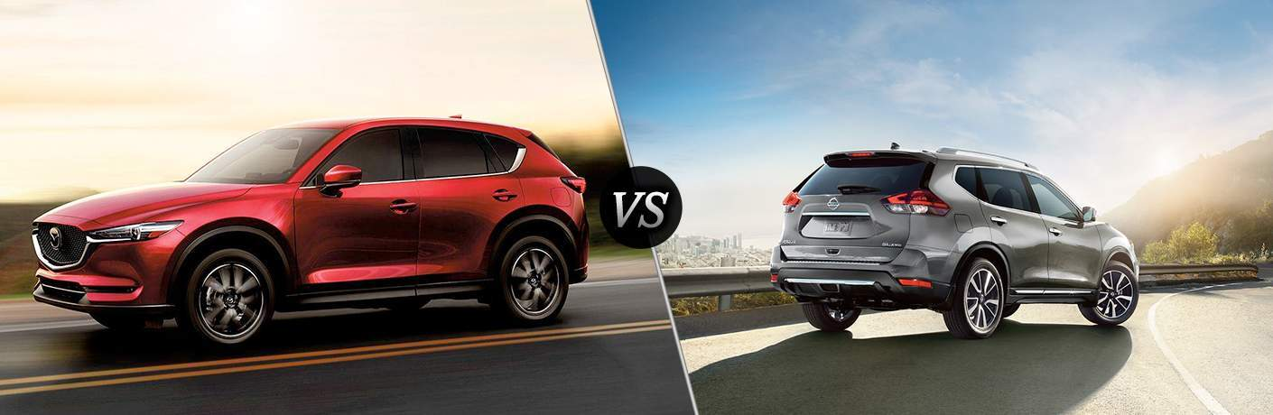 2018 Mazda CX-5 driving on a highway against a light sky vs 2018 Nissan Rogue parked on the shoulder over looking a city