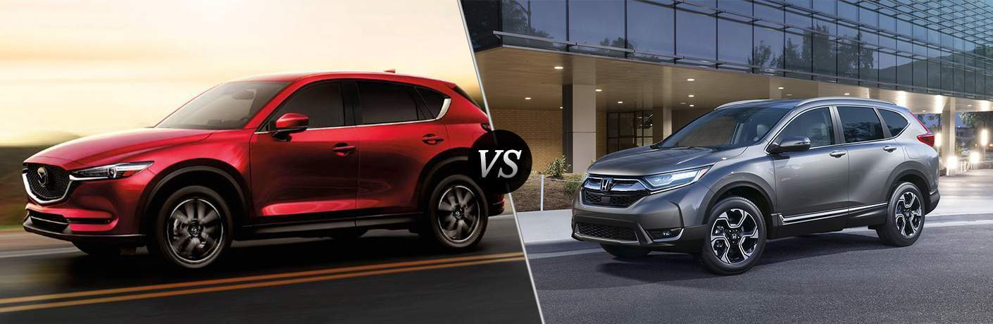 2018 Mazda CX-5 driving on a highway at dusk vs 2018 Honda CR-V parked in front of a modern building