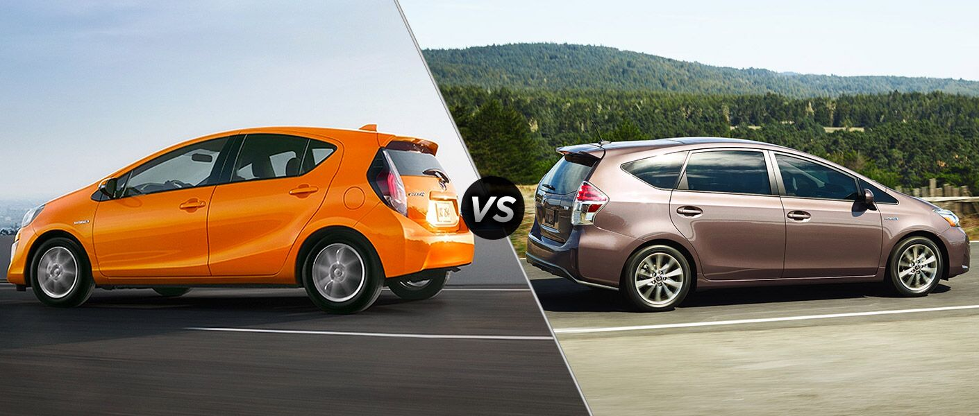 The 2015 Toyota Prius C vs 2015 Toyota Prius V comparison shows off how much extra room the V has.