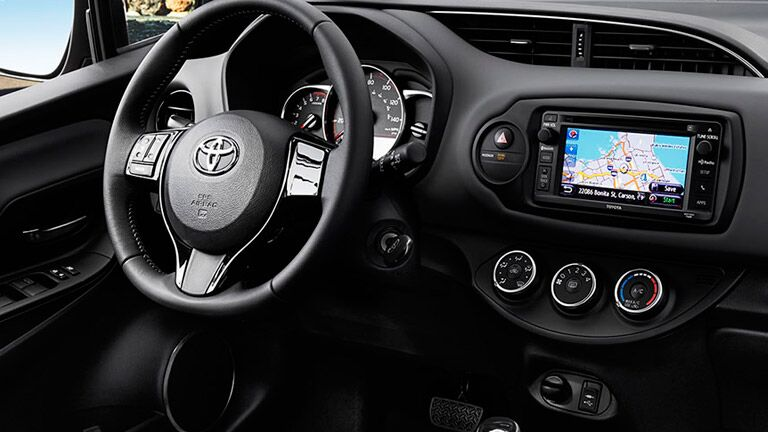 The interior of the 2015 Toyota Yaris is fun and efficient.