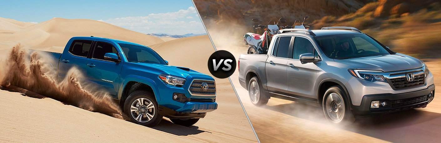 Toyota Tacoma and Honda Ridgeline models driving in sand