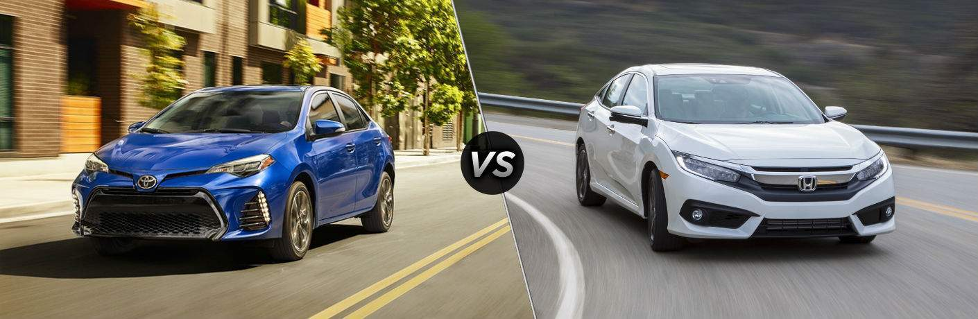 Blue 2018 Toyota Corolla driving next to white 2018 Honda Civic in comparison image