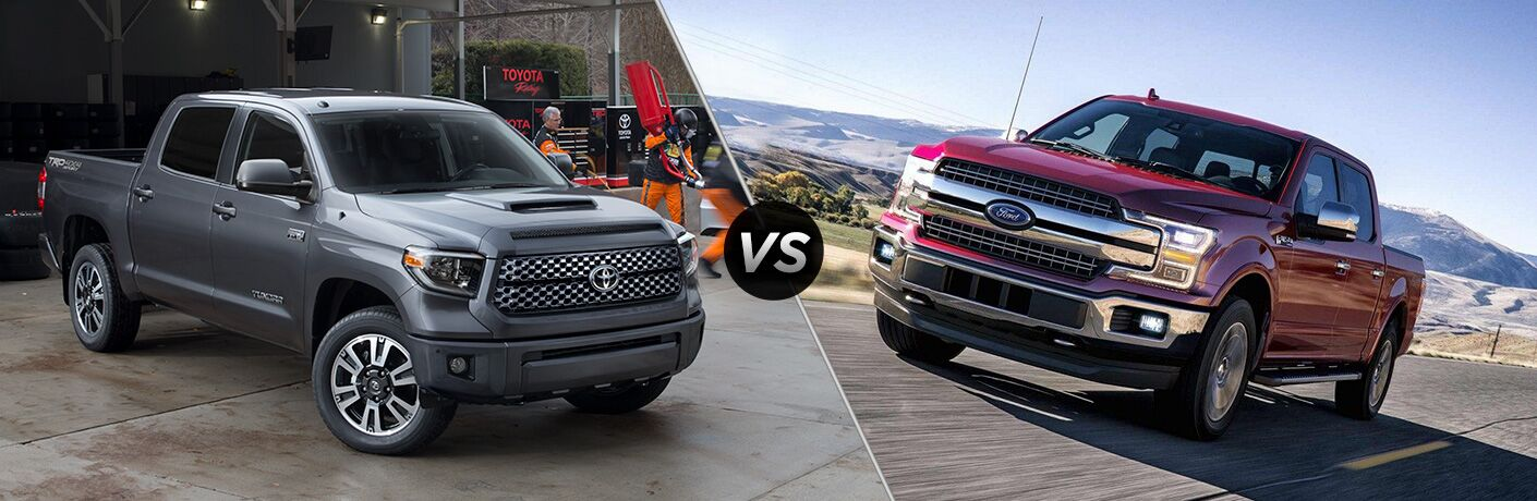 2018 Toyota Tundra positioned next to 2018 Ford F-150 in comparison image