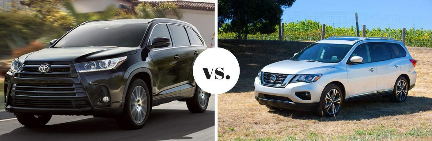 Black Toyota Highlander positioned next to silver Nissan Pathfinder in comparison image