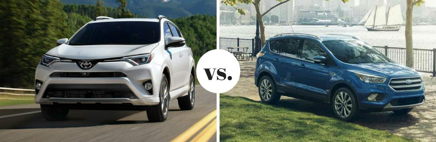 White Toyota RAV4 and blue Ford Escape parked next to each other in comparison image