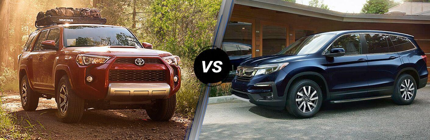 2019 Toyota 4Runner and Honda Pilot models in comparison image