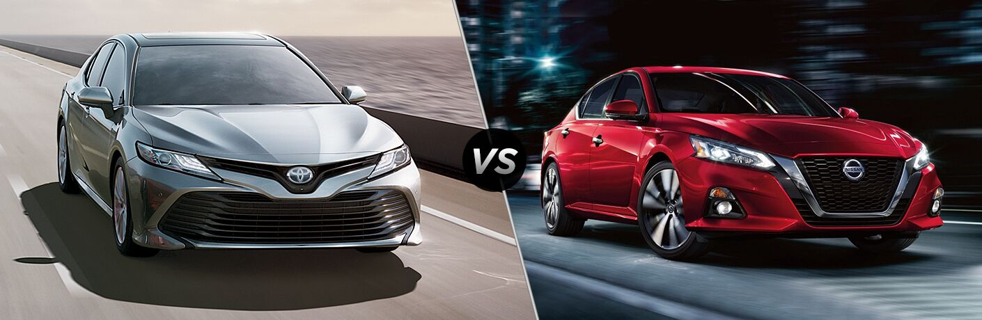 Comparison photo of 2019 Toyota Camry and 2019 Nissan Altima