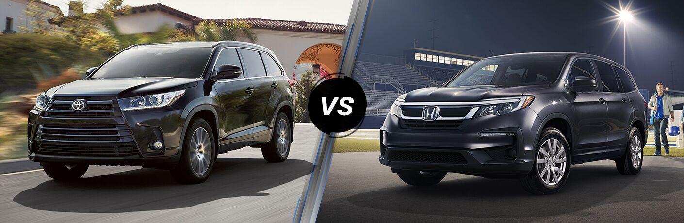 Black 2019 Toyota Highlander and 2019 Honda Pilot models next to one another in comparison image
