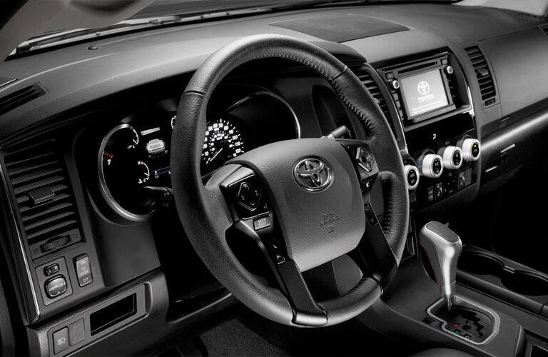 Steering wheel and center touchscreen of 2019 Toyota Sequoia