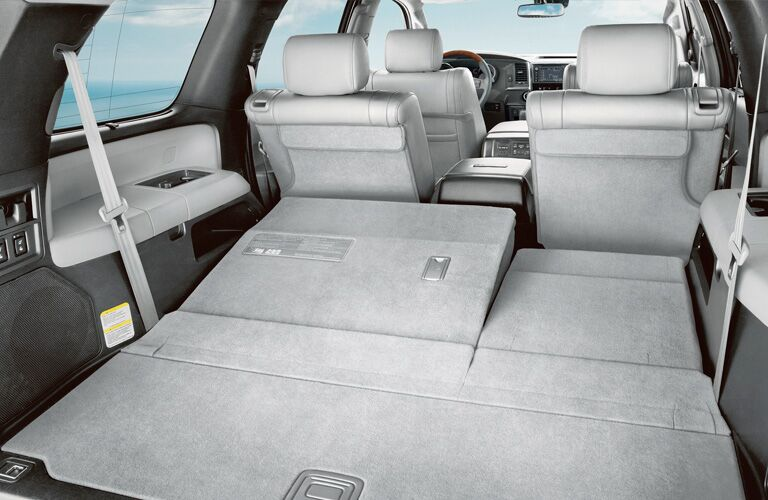 Rear row of seats folded down inside 2019 Toyota Sequoia