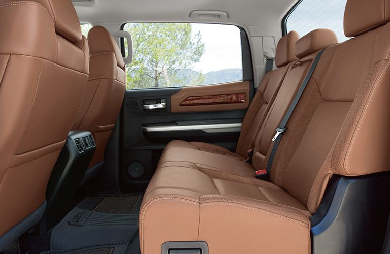 Rear row of leather seating inside 2019 Toyota Tundra