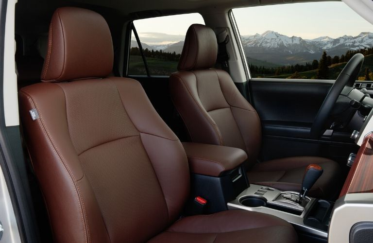 Interior view of the front seating area inside a 2020 Toyota 4Runner