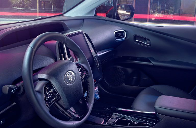 Steering wheel and vertical touchscreen inside 2020 Toyota Prius Prime