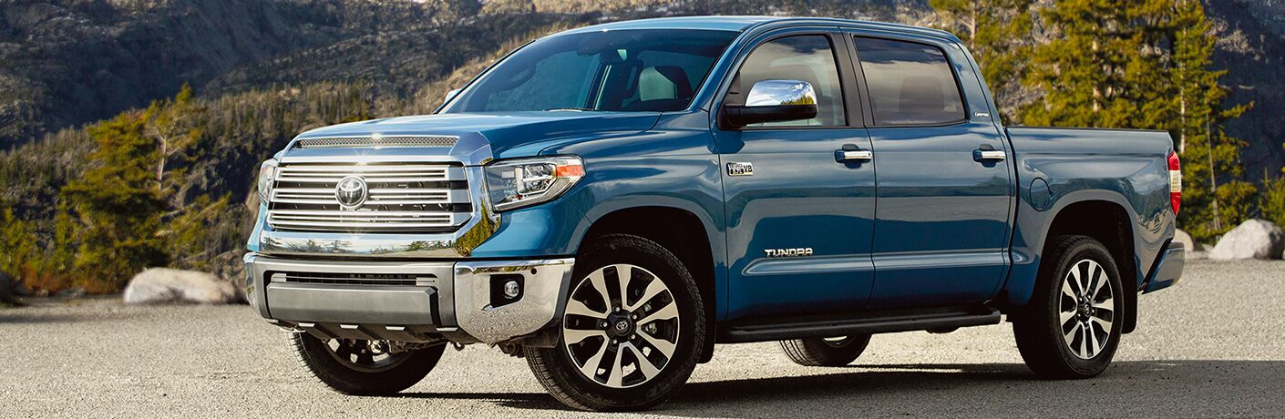 Profile view of blue 2020 Toyota Tundra