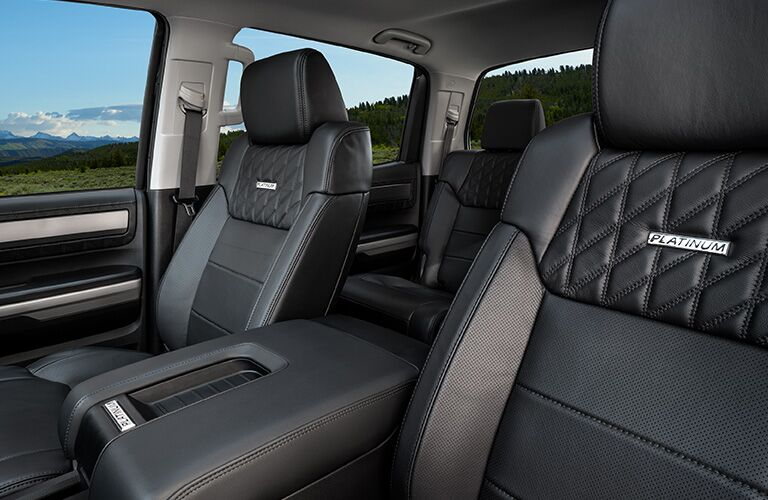 Front two seats and center console of 2020 Toyota Tundra