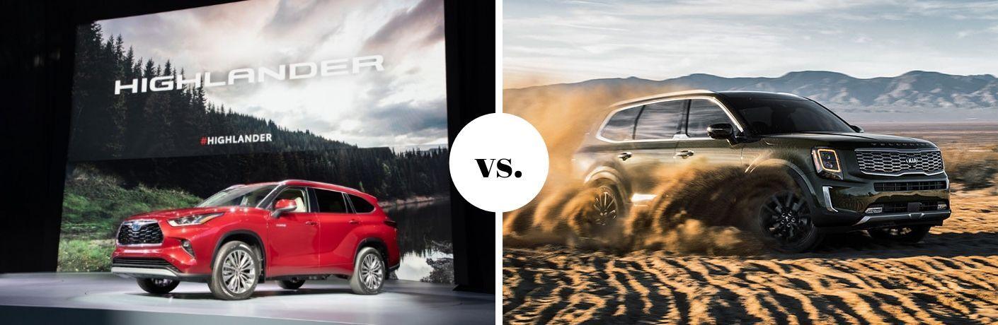 2020 Toyota Highlander and Kia Telluride models in comparison photo