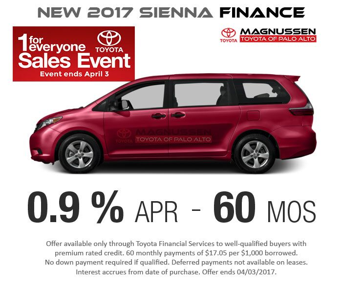 New 2017 Sienna 0.9% APR for 60 months Finance Offer.