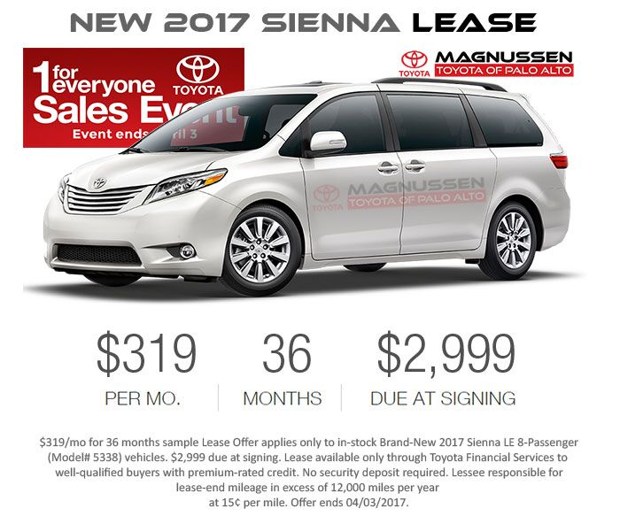 Check out New Sienna inventory with Toyota's 1 For Everyone Lease Offers in San Jose and greater SF Bay Area.