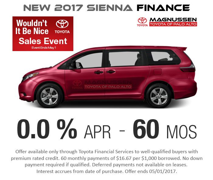 New 2017 Sienna 0.0% APR for 60 months Finance Offer.