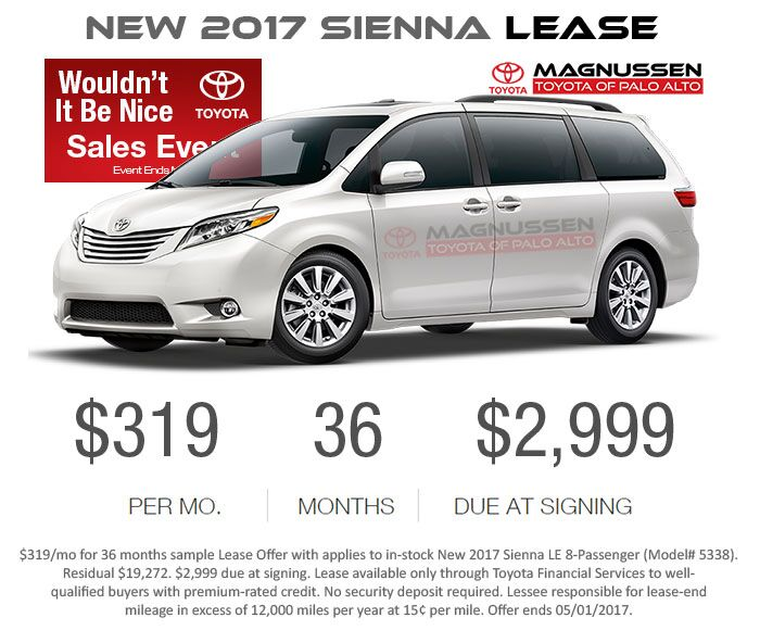 Check out New Sienna inventory with Lease Offers near San Jose and greater SF Bay Area.