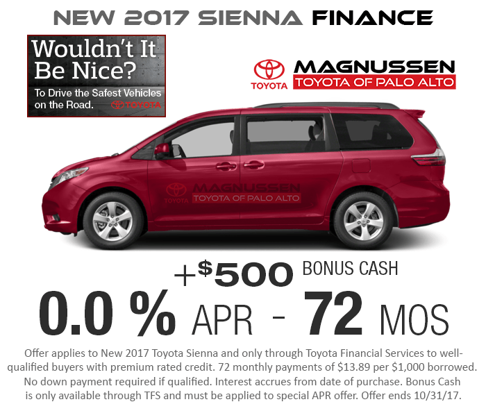 New 2017 Sienna 0.0% APR for 72 months Finance Offer.