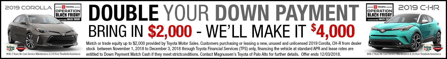 Check out Corolla vehicles with Down Payment Match Program on sale in SF Bay Area & near San Jose, CA. Offers end December 3, 2018.