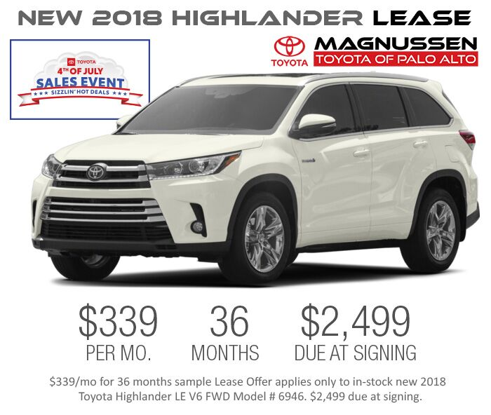 Toyota Highlander Lease >> 2018 Highlander July 4th Deals