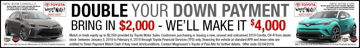 Check out Corolla vehicles with Down Payment Match Program on sale in SF Bay Area & near San Jose, CA. Offers end February 4, 2019.