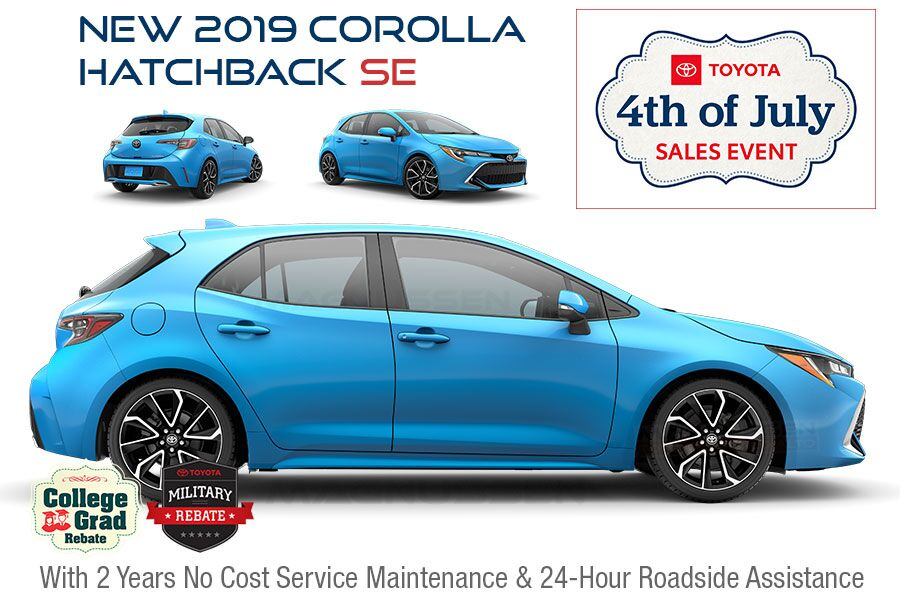 Check out 4th of July Corolla Hatchback vehicle offers near San Jose in SF Bay Area, CA.