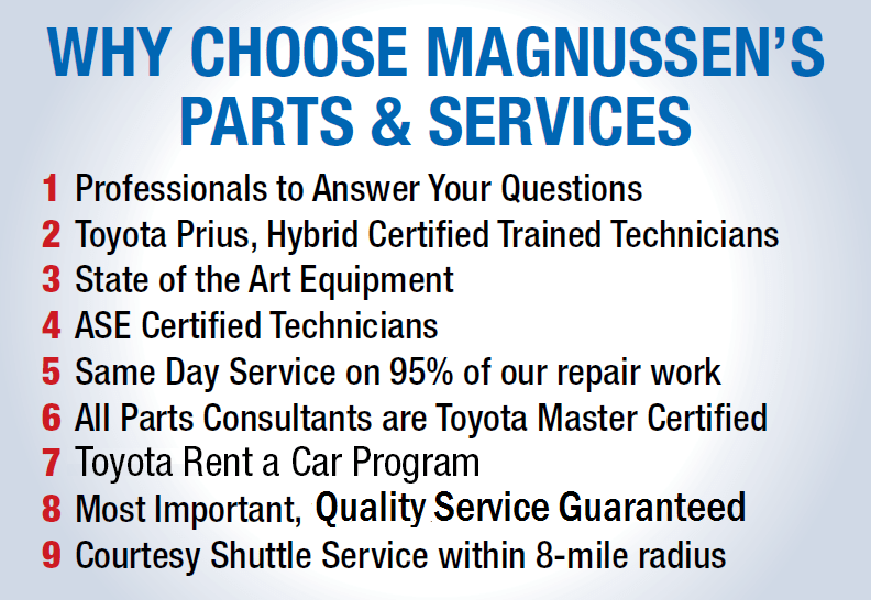 Service your Toyota at Magnussen Toyota!