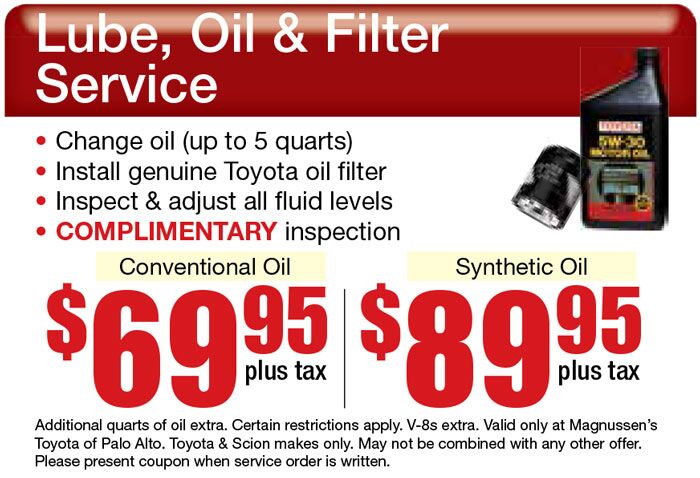 Don't miss out this $69.95+tx Toyota Oil Change Coupon Offered by Toyota Service Center in Palo Alto!